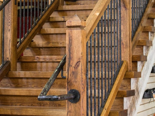Brandy Shoe Staircase with Steel Hand Railing