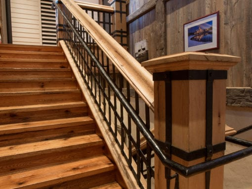 Hand Forged Staircase with Steel Hand Railing