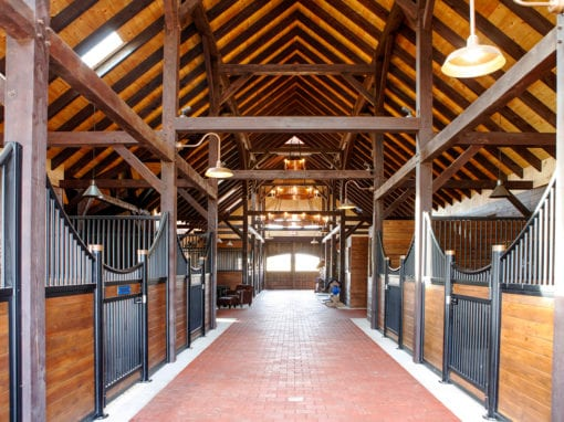 Horse Barn with Steel Stalls & Timber Frames